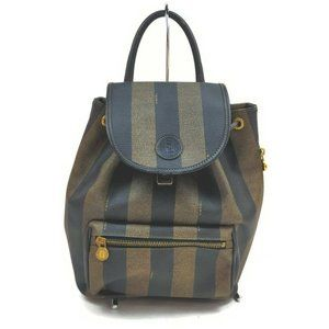 """Fendi Brown Tobacco Pequin Strip Mini Backpack"